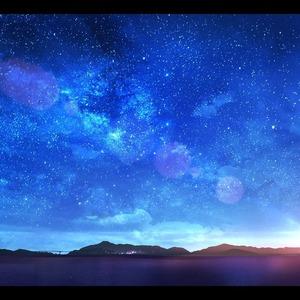星空や青空、女の子を描きます。