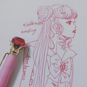ピンク万年筆で線画SNSアイコン