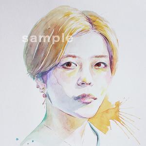 水彩と色鉛筆で似顔絵描きます。