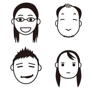 シンプルな似顔絵線画イラスト<名刺・アイコン>