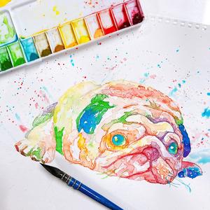 透明水彩でカラフルな動物やペットの似顔絵を描きます