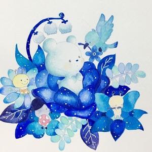 命名書/青い鳥とブルースターの花の命名書