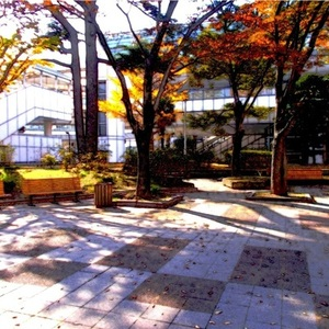 風景 2DCG ビル街の公園 アニメ調 背景 制作承ります。