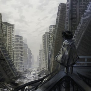 不穏、廃墟の風景絵