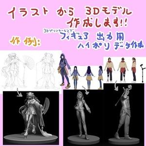 あなたのイラストからキャラクターフィギュア出力できる3Dモデルを作ります!