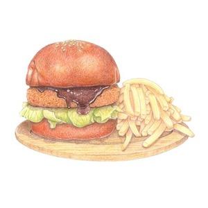 【商用利用可】色鉛筆で、写真から繊細な食べ物イラストを描きます。